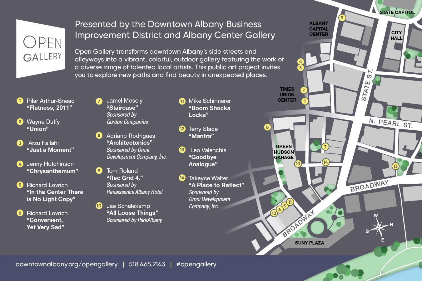 Map of the Open Gallery Locations throughout Downtown Albany